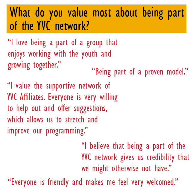 What do you value most about being part of the YVC network
