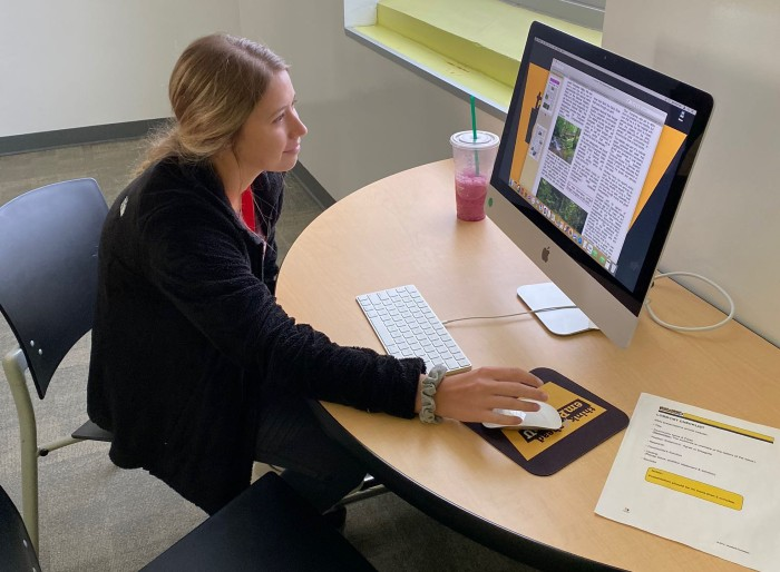 Youth volunteer engaged in a virtual project online