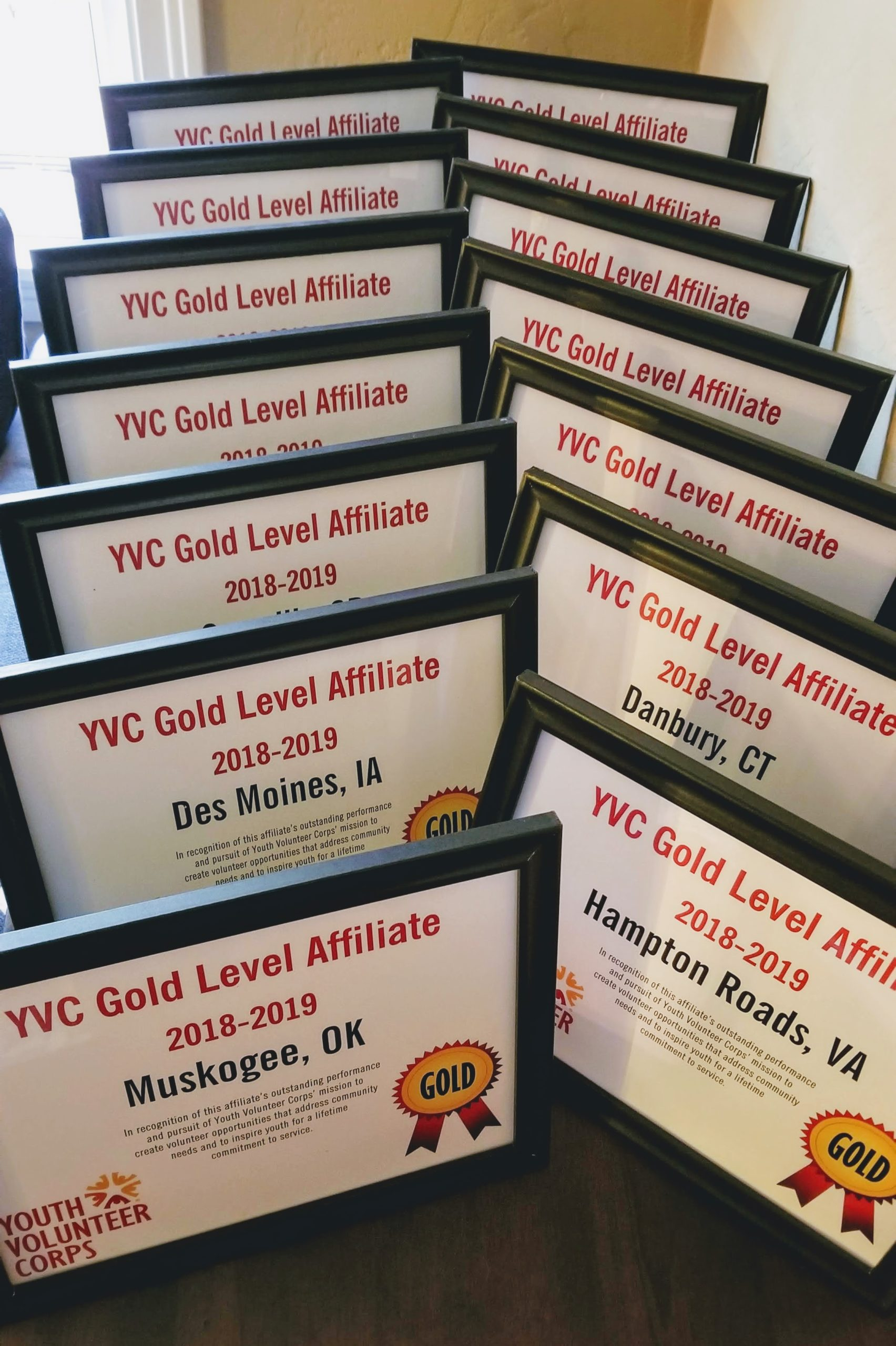 Gold Level certificates displayed
