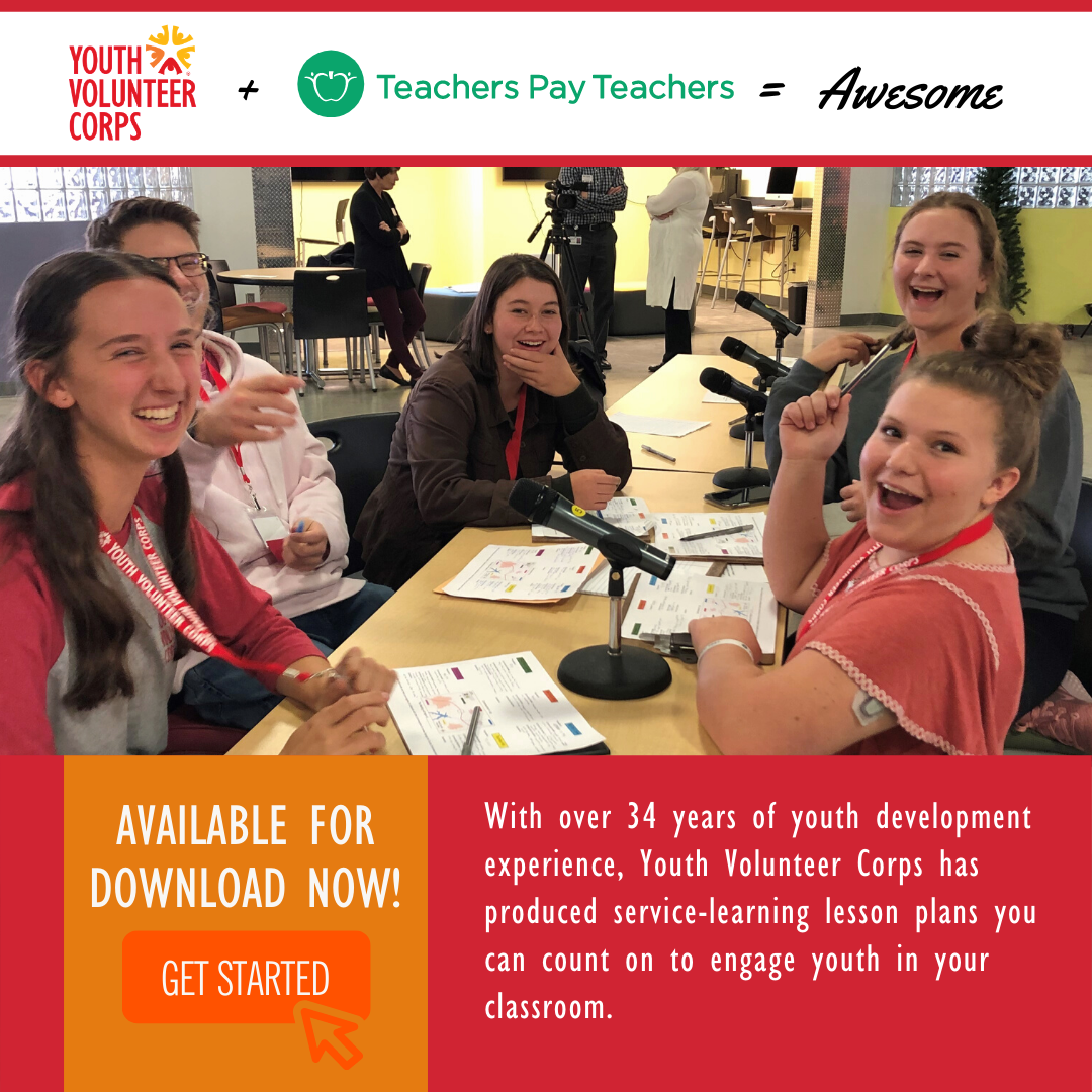 Advertisement to go to the Teachers Pay Teachers site to download service-learning lessons